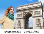 happy woman travel in paris ... | Shutterstock . vector #249682951