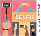 monopod selfie self portrait...   Shutterstock .eps vector #249692449
