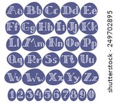 alphabet and numbers  hand... | Shutterstock .eps vector #249702895