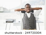 relaxed businessman with hands... | Shutterstock . vector #249720304