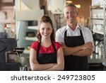 servers smiling at the camera... | Shutterstock . vector #249723805