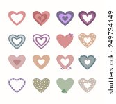 set of valentine in the form of ... | Shutterstock .eps vector #249734149
