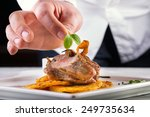chef in hotel or restaurant... | Shutterstock . vector #249735634