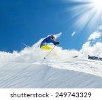 male skier on downhill free... | Shutterstock . vector #249743329