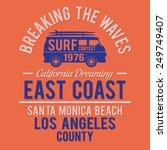 surf santa monica typography  t ... | Shutterstock .eps vector #249749407