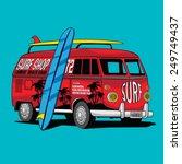 van surf illustration  t shirt... | Shutterstock .eps vector #249749437