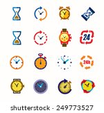 vector color clocks icons on... | Shutterstock .eps vector #249773527