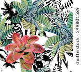 exotic striped plants painting... | Shutterstock .eps vector #249801589