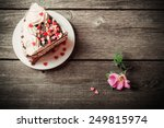 Pink Rose And Cake On Wooden...