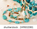 Turquoise Necklace Lying On...