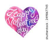 vector violet watercolor heart... | Shutterstock .eps vector #249867745