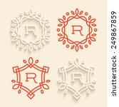 set of simple floral monogram... | Shutterstock .eps vector #249867859