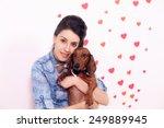 Happy Girl With A Dog Dachshun...