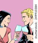 Romantic Couple Toasting  ...