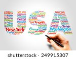 Usa  cities names word cloud...