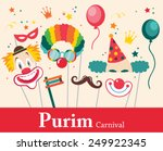 design for jewish holiday purim ... | Shutterstock .eps vector #249922345