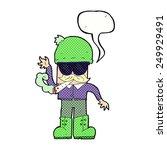 cartoon man smoking pot with... | Shutterstock . vector #249929491