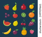 flat icons of different fruits... | Shutterstock .eps vector #249939661