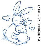 cute baby bunny and adult... | Shutterstock .eps vector #249945535