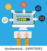 email design over blue... | Shutterstock .eps vector #249975091