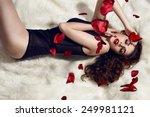 beautiful brunette girl in all... | Shutterstock . vector #249981121