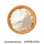 Small photo of overhead view of finely ground flour in terracotta bowl