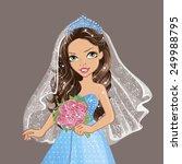 beautiful brunette in a blue... | Shutterstock .eps vector #249988795