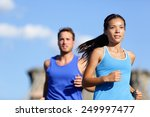 city running couple jogging... | Shutterstock . vector #249997477