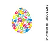 egg made of the handprints of... | Shutterstock .eps vector #250011259