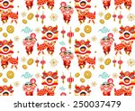 chinese new year lion dancing... | Shutterstock .eps vector #250037479