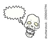 cartoon scary skull with speech ...   Shutterstock . vector #250043794