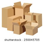 Pile Of Cardboard Boxes On A...
