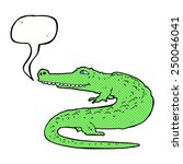 cartoon crocodile with speech... | Shutterstock . vector #250046041