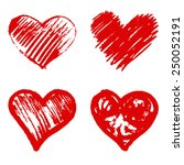 Set Of 4 Red Heart  Vector