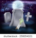a spooky zombie grave halloween ... | Shutterstock .eps vector #250054321