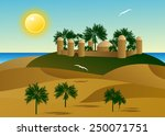 the palace in the desert with... | Shutterstock .eps vector #250071751