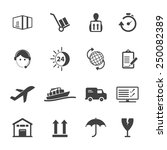 shipping and logistics icons | Shutterstock .eps vector #250082389