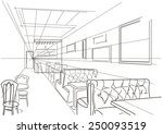 linear interior sketch of cafe | Shutterstock .eps vector #250093519