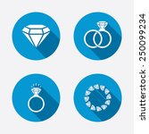 rings icons. jewelry with shine ... | Shutterstock .eps vector #250099234