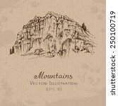 mountains. hand drawn vector... | Shutterstock .eps vector #250100719