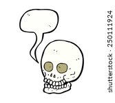 cartoon skull with speech bubble | Shutterstock . vector #250111924