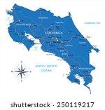 costa rica map | Shutterstock .eps vector #250119217