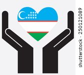 hand showing uzbekistan flag in ... | Shutterstock .eps vector #250121089