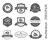 meat store labels  logos and... | Shutterstock .eps vector #250129135
