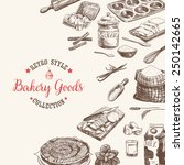 vector bakery retro background. ... | Shutterstock .eps vector #250142665
