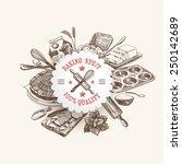 vector bakery retro background. ... | Shutterstock .eps vector #250142689