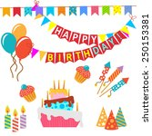 retro birthday celebration... | Shutterstock .eps vector #250153381