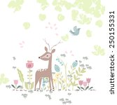Forest Theme Card With Deer In...