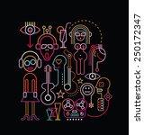 neon lights abstract art...   Shutterstock .eps vector #250172347