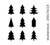 icon set of christmas trees....